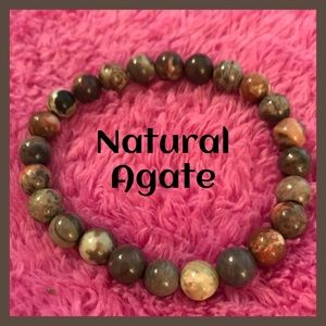 Natural Agate Stone Bracelet/ Healing Beads